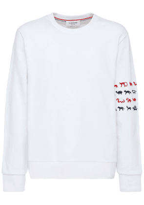 Animals Embroidery Cotton Sweatshirt