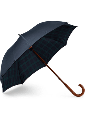 London Undercover - Black Watch-Lined Wood-Handle Umbrella - Men - Blue