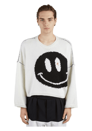 Oversize Smiley Virgin Wool Knit Sweater