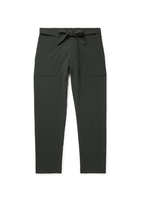Nanushka - Ron Slim-Fit Belted Checked Seersucker Suit Trousers - Men - Green