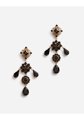 Dolce & Gabbana Bijoux - DROP EARRINGS WITH FLOWERS AND STONES GOLD female OneSize