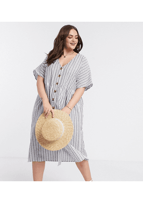 ASOS DESIGN Curve button through smock midi dress in stripe-Multi