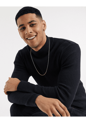 Esprit ribbed muscle fit roll neck jumper in navy-Blue