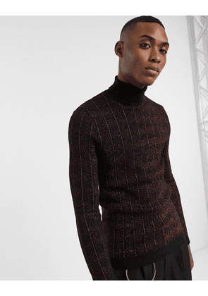 ASOS EDITION muscle fit jumper in metallic red cable design and roll neck