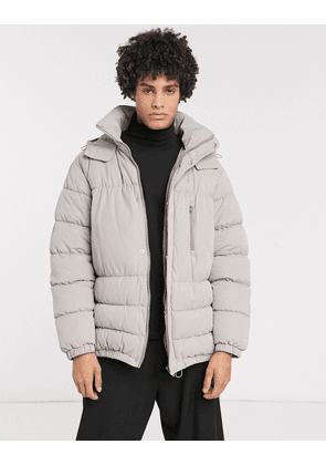 ASOS WHITE boxy puffer jacket in grey with concealed hood