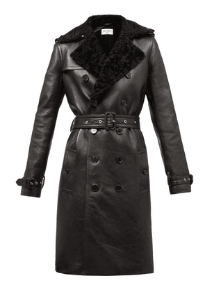 Saint Laurent - Double-breasted Shearling Trench Coat - Womens - Black