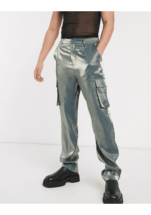 ASOS EDITION wide leg cargo trousers in iridescent fabric-Blue