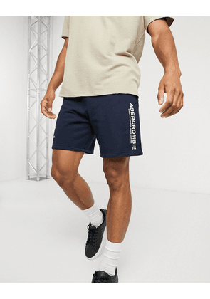Abercrombie & Fitch cities print logo shorts in navy