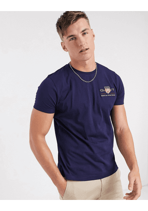 Gant archive embroidered shield logo t-shirt in evening blue-Navy