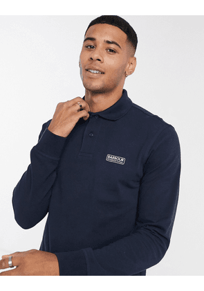 Barbour International Essential logo long sleeve polo in navy