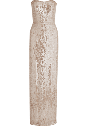 Jenny Packham Strapless Embellished Tulle Gown Woman Blush Size 18