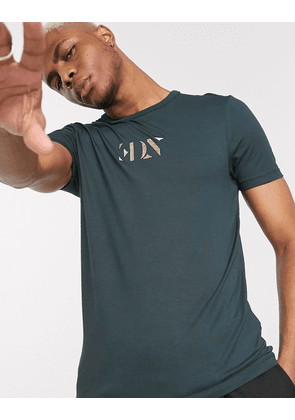 ASOS EDITION skinny t-shirt with embroidered logo in green