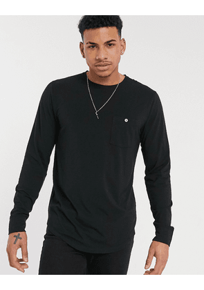 Abercrombie & Fitch button pocket crew neck long sleeve top in black