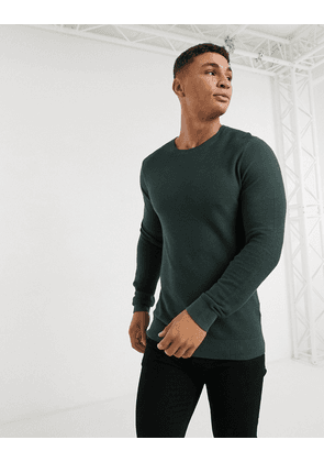 Abercrombie & Fitch soft knit crew long sleeve top in green