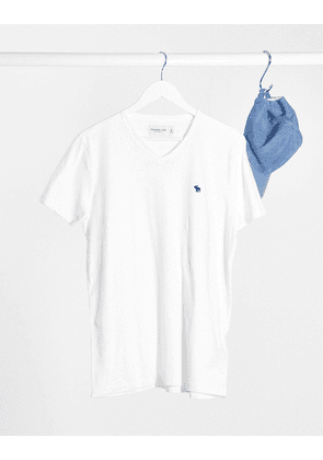 Abercrombie & Fitch icon V-neck t-shirt in white-Navy