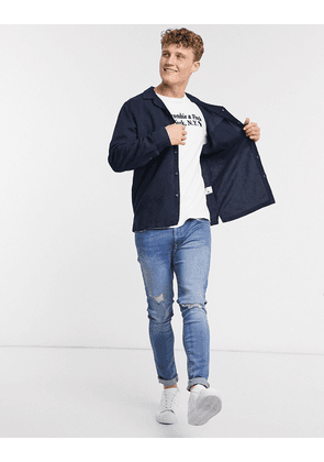 Abercrombie & Fitch linen long sleeve shirt in navy