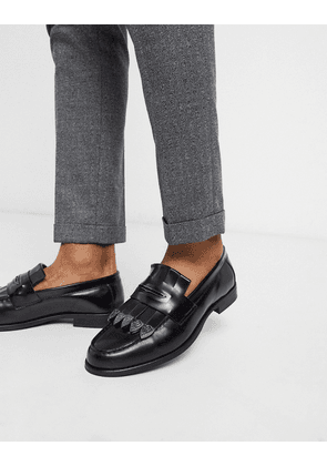 ASOS EDITION faux leather loafer in black crock with metalwork