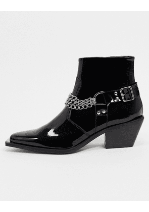 ASOS EDITION patent cuban boot with toe cap and chains-Black
