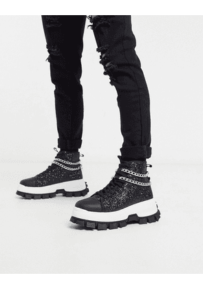 ASOS EDITION high top trainers in black glitter with chain detail and cleated sole