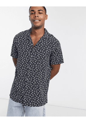 Abercrombie & Fitch rayon floral short sleeve shirt in navy