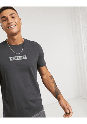 Abercrombie & Fitch central block box logo t-shirt in black