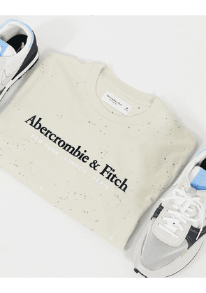 Abercrombie & Fitch central logo t-shirt with paint splatter in tan