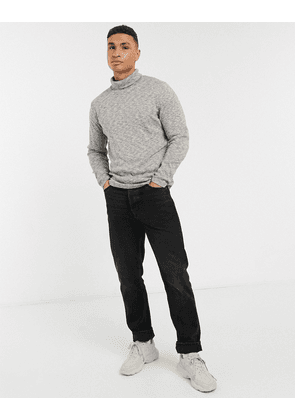 Abercrombie & Fitch roll neck fine guage knit jumper in grey marl