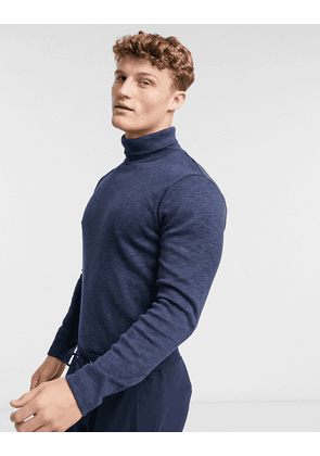 Abercrombie & Fitch roll neck fine guage knit jumper in navy/black marl
