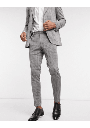 Only & Sons suit trouser with elasticated waist in heritage check-Blue
