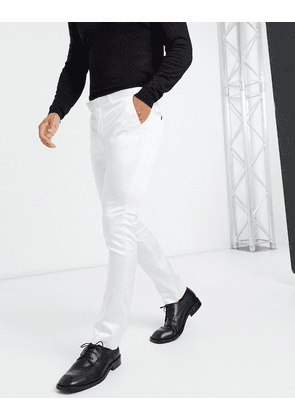 Twisted Tailor satin suit trousers in winter white