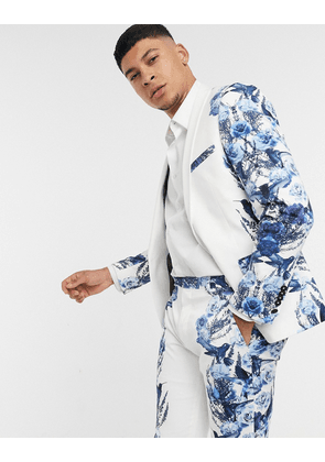Twisted Tailor suit jacket with mirrored blue floral print in white