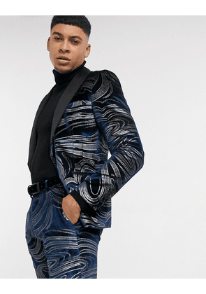 Twisted Tailor velvet suit jacket with swirl design in midnight blue-Navy