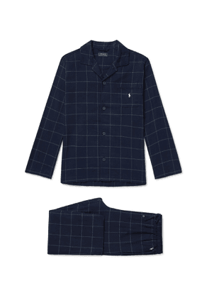 POLO RALPH LAUREN - Logo-Embroidered Checked Cotton-Flannel Pyjama set - Men - Blue