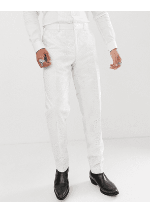 ASOS EDITION skinny tuxedo suit trousers in sequin and lace embellished white sateen