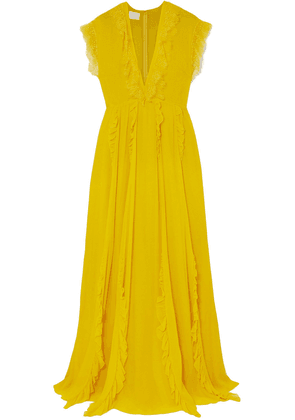 Giambattista Valli Ruffled Lace-trimmed Silk-georgette Gown Woman Yellow Size 40