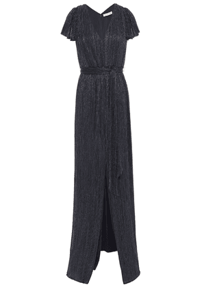 Halston Belted Metallic Knitted Gown Woman Navy Size 2