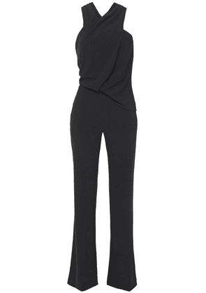 Halston Crossover Draped Stretch-crepe Jumpsuit Woman Black Size 8