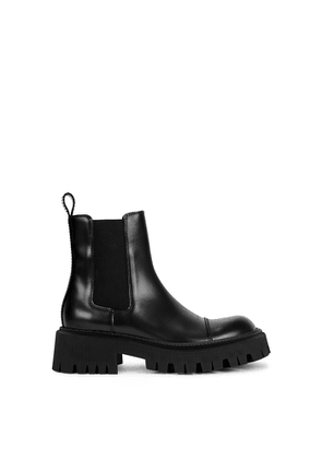 Balenciaga Tractor 65 Black Leather Chelsea Boots