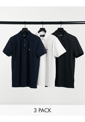 Abercrombie & Fitch 3 pack icon logo pique polos in white/navy/black-Multi