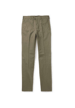Aspesi - Tapered Garment-Dyed Cotton-Twill Trousers - Men - Green