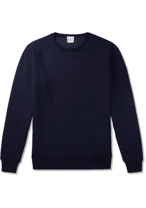 Aspesi - Slim-Fit Loopback Cotton, Cashmere and Wool-Blend Sweater - Men - Blue