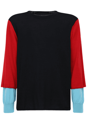Color Block Wool Jersey Sweater
