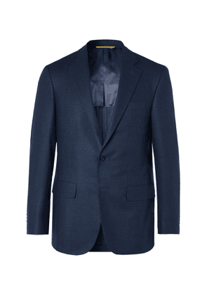 Canali - Kei Slim-Fit Micro-Checked Silk and Wool-Blend Blazer - Men - Blue