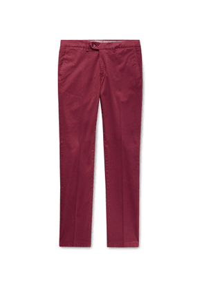 Canali - Slim-Fit Stretch-Cotton Twill Chinos - Men - Red