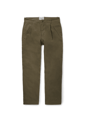 Folk - Navy Assembly Tapered Pleated Cotton-Canvas Trousers - Men - Green
