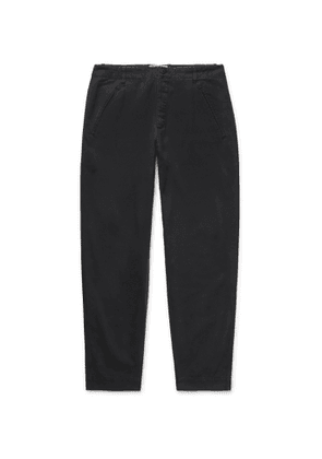 Folk - Navy Assembly Tapered Pleated Cotton-Canvas Trousers - Men - Black