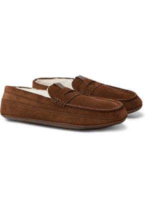 Grenson - Sly Shearling-Lined Suede Slippers - Men - Brown