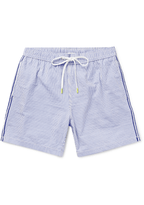 Hartford - Slim-Fit Mid-Length Striped Seersucker Swim Shorts - Men - Blue
