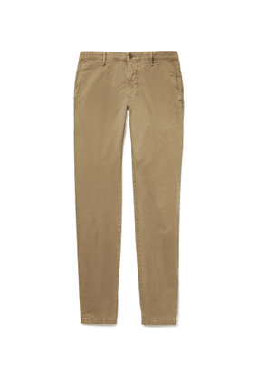 Incotex - Slim-Fit Printed Cotton-Blend Twill Trousers - Men - Brown