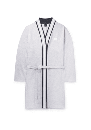 Hugo Boss - Striped-Trimmed Ribbed Mélange Cotton Robe - Men - Gray